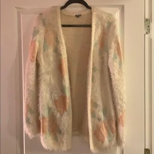 Charlotte Russe Fuzzy Rose Cardigan
